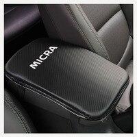 Carbon Fiber Texture Pu Leather Car Armrest Storage Protection Cushion For Nissan Micra