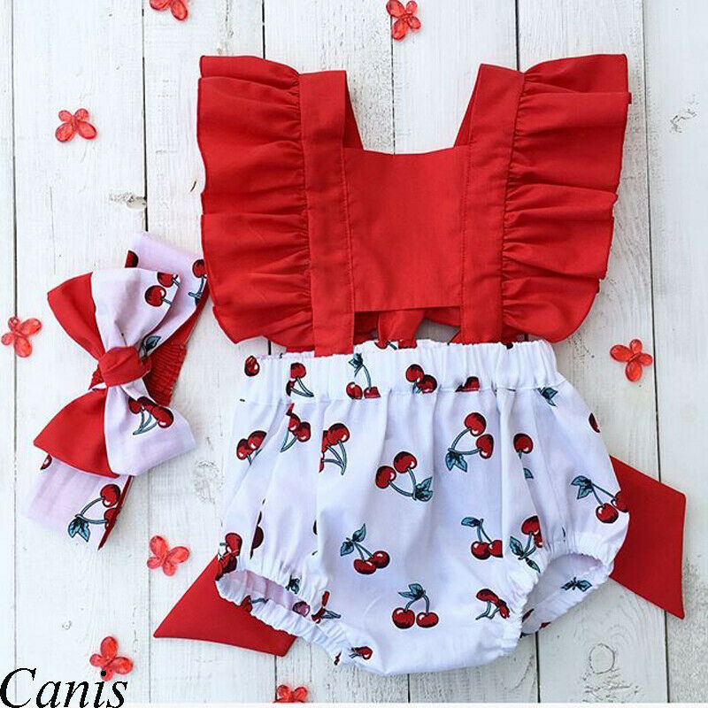 2Pcs Newborn Baby Girl Clothes Ruffle Backless Cherry Romper + Headband Outfit Baby Girl Summer Clot