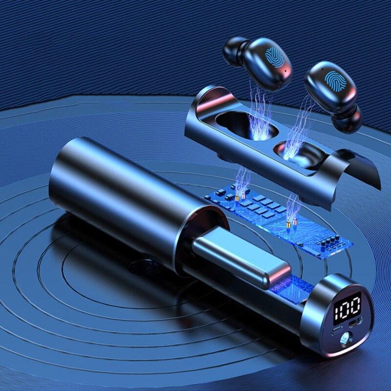 Auriculares estéreo con bluetooth N21... miniauriculares deportivos binaurales con pantalla LED tubo...