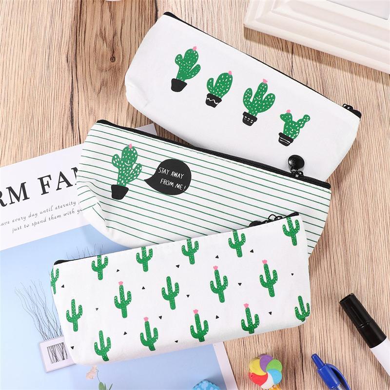 Estuche para lápices de lona con estampado de Cactus de 3 uds., estuche para lápices, bolsa para maquillaje, producto creativo de aprendizaje, artículos de papelería para fiestas, regalos increíbles