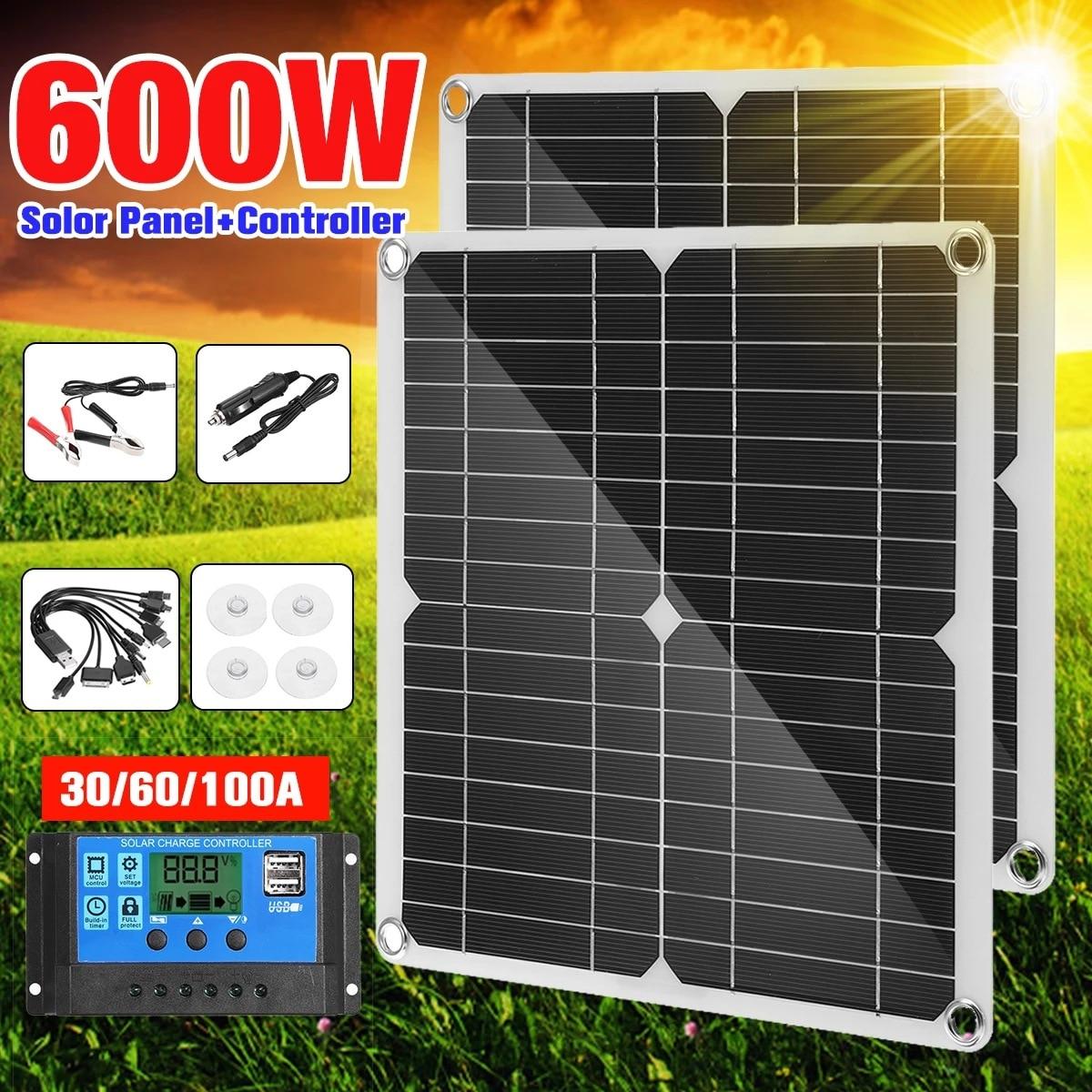 20 واط 50W18V مرنة لوحة طاقة شمسية مزدوجة USB الناتج لوحة طاقة شمسية سيارة وشحن شاحن الهاتف المحمول