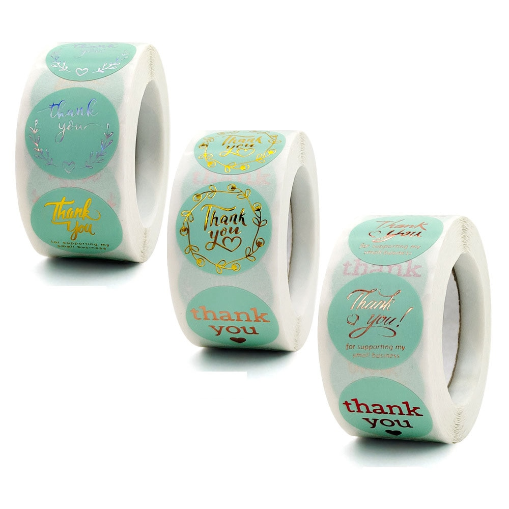 где купить 500pcs Round Green Business Label Stickers Paper Cute Thank You Stickers for Baking Packaging Seal handmade Stationery Stickers дешево