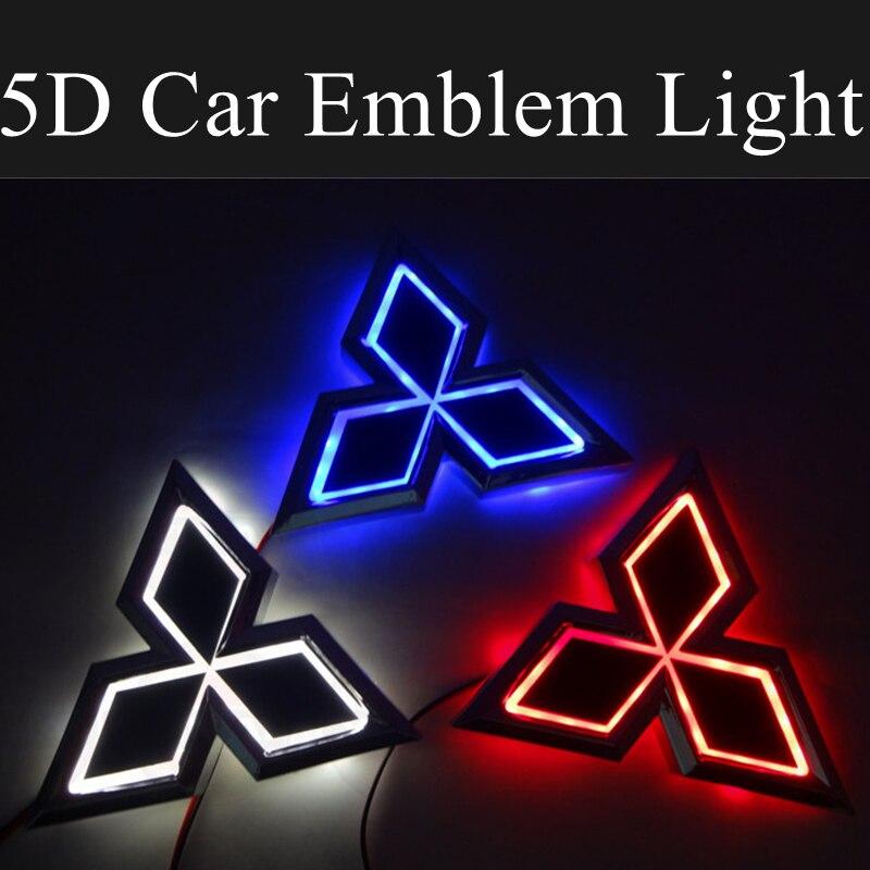 Emblema delantero LED para coche 5D, luz trasera para maletero, decoración automática para Mitsubishi ASX Ralliart Outlander Lancer Pajero Eclipse Galant