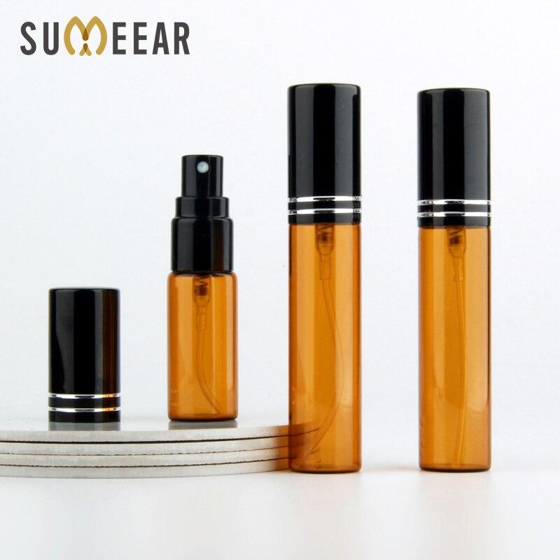 50 pçs/lote 5ml 10ml garrafas de perfume de vidro âmbar mini recipiente recarregável vazio spray garrafa perfume bomba cosméticos recipientes