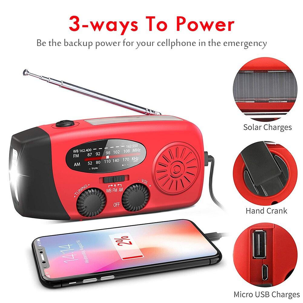 5 em 1 Rádio De Emergência 1000mAh Banco de Potência Manivela Auto Movido A Energia Solar Carregador de Telefone FM/AM Solares rádio com 3 Lanterna LED