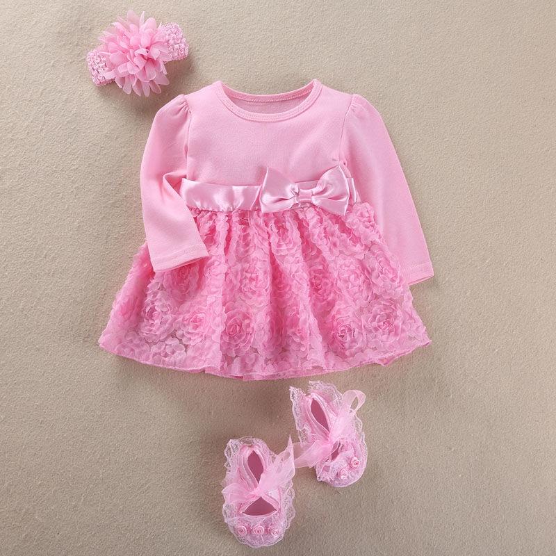 Vestido de alta calidad para niñas, niñas, recién nacidas, niñas, vestido de boda, cumpleaños, diadema, conjunto de zapatos, vestido de bautizo
