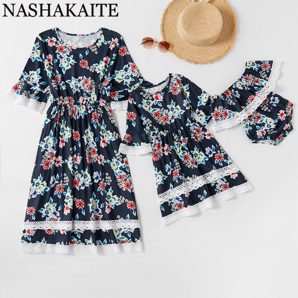Vestidos NASHAKAITE para madre e hija, Vestido de manga corta con puntadas de encaje Floral, ropa para niña bebé, conjunto familiar, ropa para mamá y yo