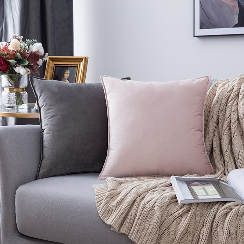Velvet hug pillowcase cushion set solid color pillowcase office belt lumbar cushion cover living room sofa hug pillowcase