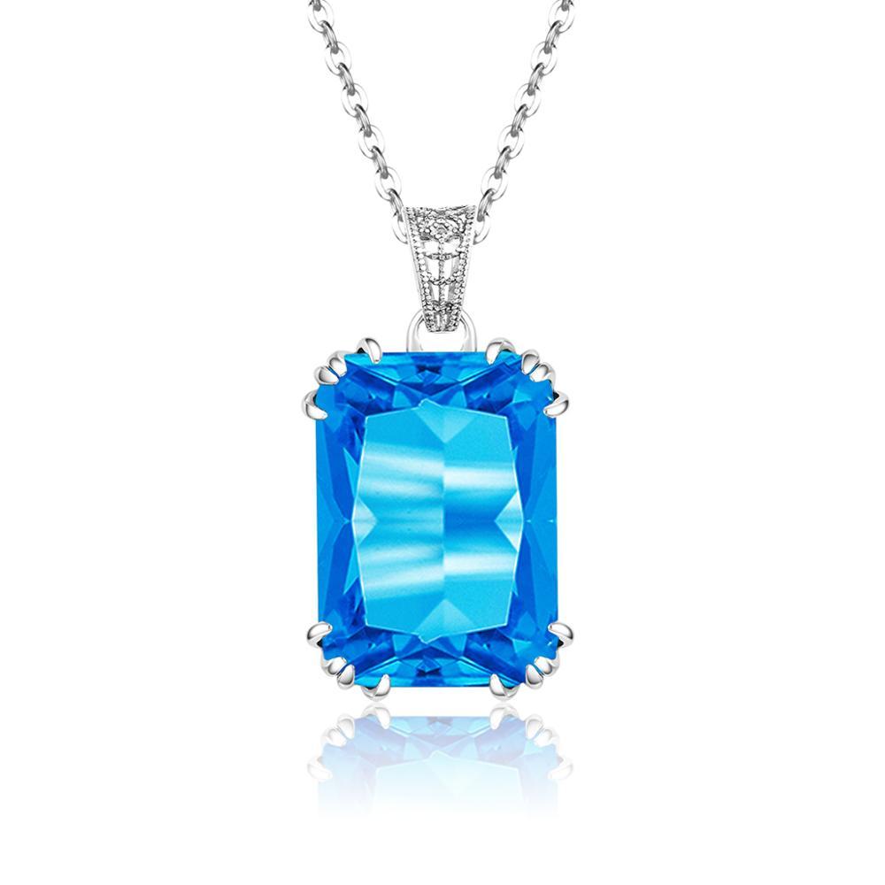 Joyería fina de plata 925 colgante azul piedra preciosa collar Natural mujer Bizuteria pendientes de zafiro joyería nueva moda