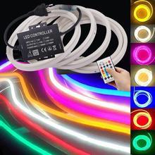 Musique néon RGB LED bande Flexible LED enseigne au néon 110V 220V AC 2835 5050 120LED ruban ruban lampe 24Key télécommande