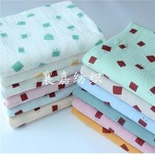 Cotton Crepe Cartoon Printed Seersucker Baby Double Gauze Blanket Cloth Pajamas Fabric