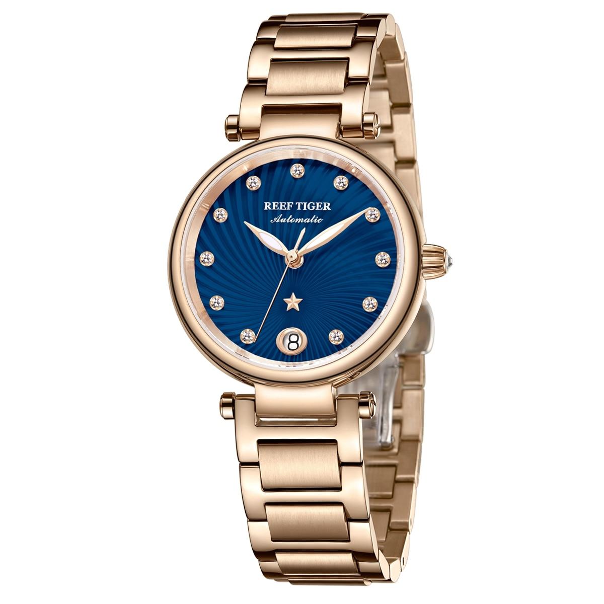 Reef Tiger/RT New Design Luxury Rose Gold Watch Blue Dial Automatic Watches Women Diamond Bracelet Watch reloj mujer RGA1590 enlarge