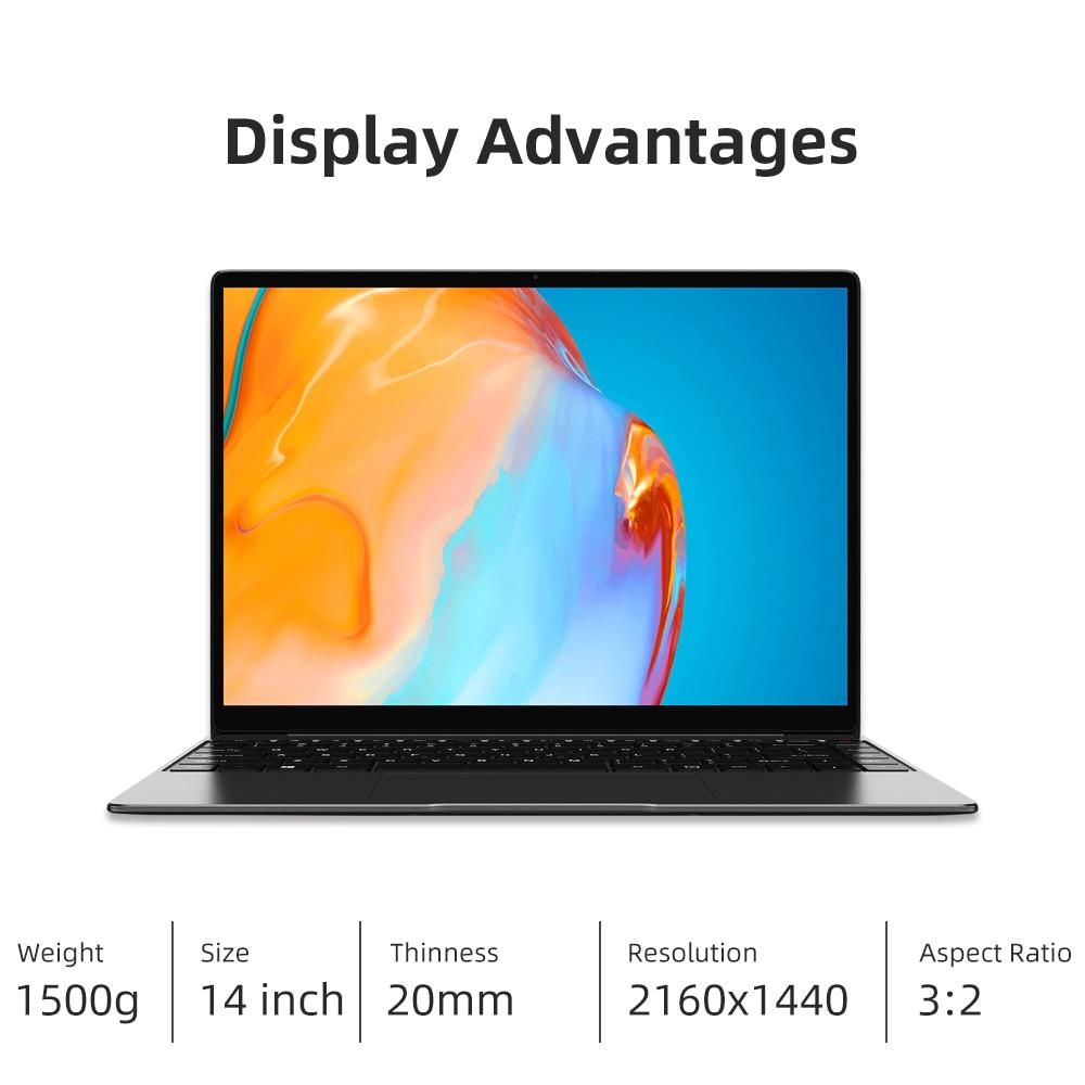 CHUWI GemiBook Pro 14 inch 2K Screen Laptop 12GB RAM 256GB SSD Intel Celeron Quad Core Windows 10 Computer with Backlit Keyboard 4