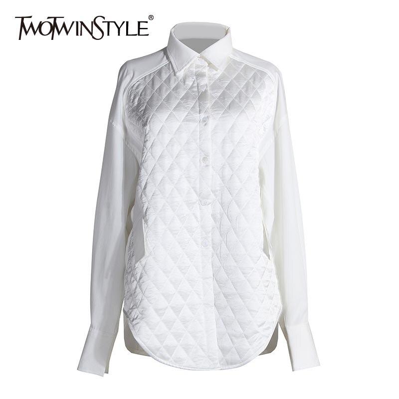 TWOTWINSTYLE Casual Pacthwork Argyle mujeres blusas solapa Collar linterna de manga larga camisas sueltas para ropa femenina 2020 marea