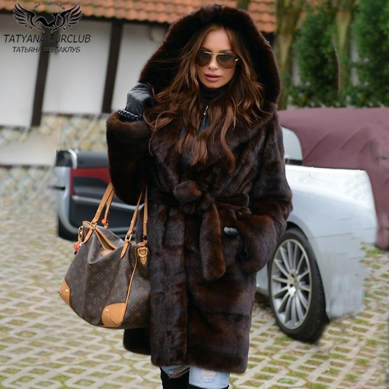 90cm Long Real Mink Fur Coats With Hood High Quality Women Genuine Mink Fur Coat Plus Size Woman Natural Fur Overcoats With Belt недорого