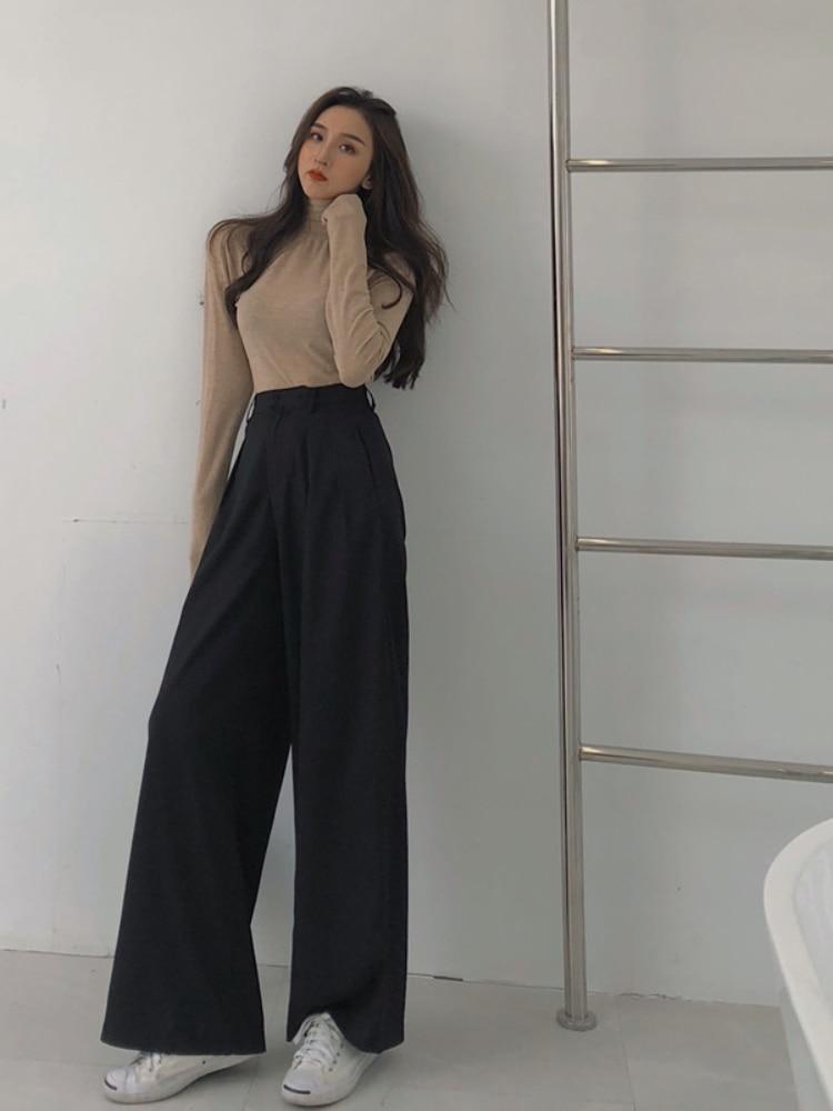 Autumn Female Solid Wide Leg Pants Women Full Length Pants Ladies High Quality Simple Casual Straight Pants  Pants Women