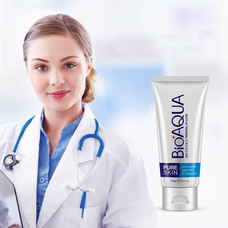 Bioaqua Acne Treatment Facial Cleanser Black Head Remove Oil-control Deep Cleansing Foam Shrink Pores 100g