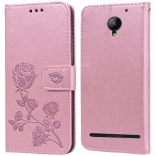 Luxury Leather Flip Book Case for Lenovo Vibe C2 / C2 Power K10A40 Rose Flower Wallet Stand Case Pho