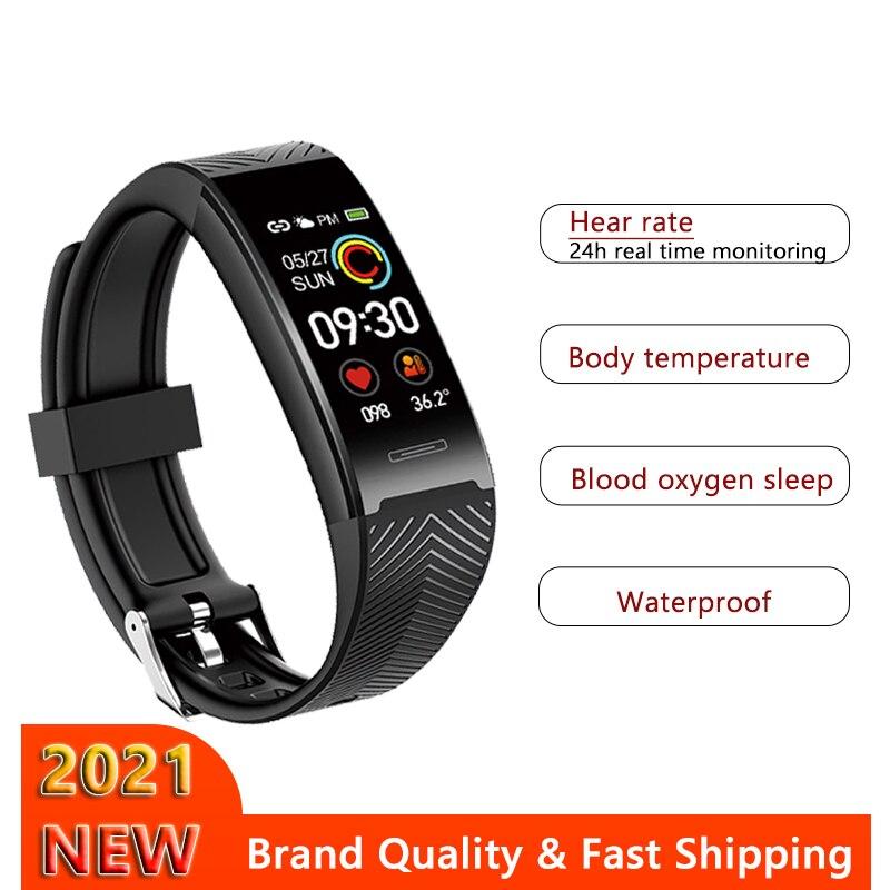 2021 Sport Smart Band Waterproof Fitness Tracker Bracelet Smartwatch Body Temperature Watch For iPho