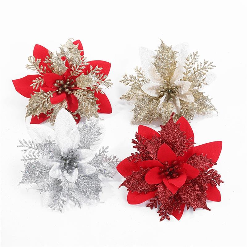 Rosa Artificial de Navidad para decoración del hogar, decoración de boda, álbum...