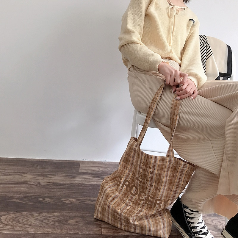 Retro Plaid Women Casual Tote Handbags Fashion Candy Color Ladies Canvas Shopping Bag Large Capacity Student Girls Shoulder Bags
