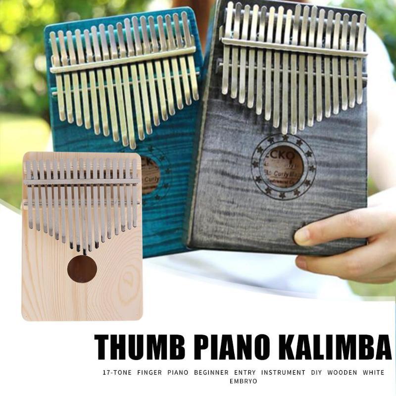 17 teclas Kalimba dedo pulgar Piano africano DIY madera blanco Embryo Sanza Mbira Kalimba tocar con guitarra madera instrumentos musicales