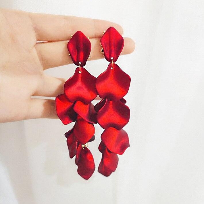 Korea Exaggerated Red Petal Tassel Long Drop Earrings For Women Fashion Temperament Dangle Pendientes Wedding Ear Accessories
