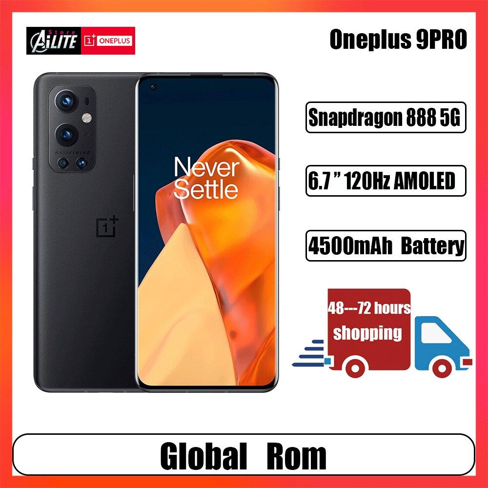 Новый оригинальный OnePlus 9 Pro 5G Смартфон Snapdragon 888 5G 6,7 дюймов 2,0 Hasselblad 50MP Камера 65 Вт Обёрточная бумага зарядки мобильные телефоны