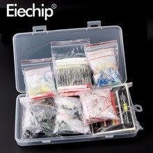 Kit de cerámica de condensador electrolítico, conjunto de diodos led de resistencia, paquete de transistores, surtido de bricolaje, kits de componentes electrónicos con caja