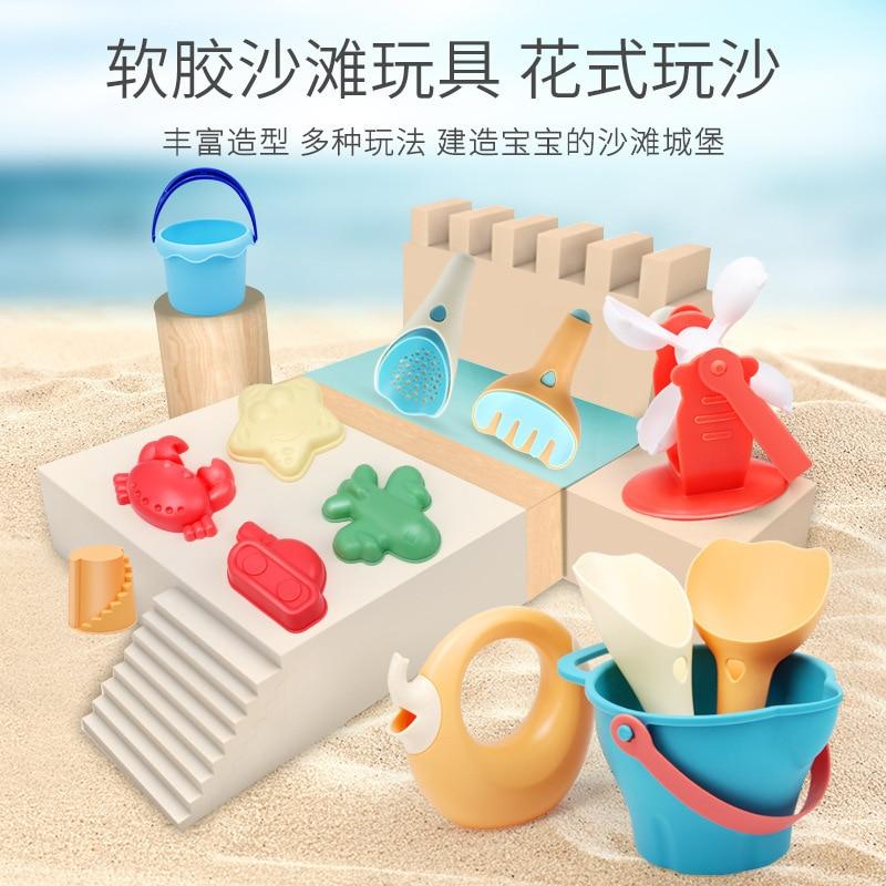 Juguetes Divertidos de arena de agua de dibujos animados para niños, playa de silicona suave, 14 Uds., juegos de juguetes para bebés, casa de juegos educativa, herramienta para jugar en la arena AA50