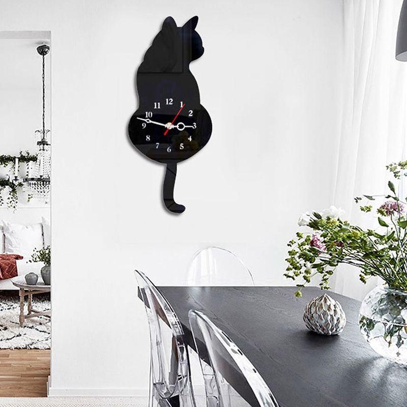ELEG-3D Reloj de pared gato bonito cola de gato silencio decoración del hogar regalo de niños negro