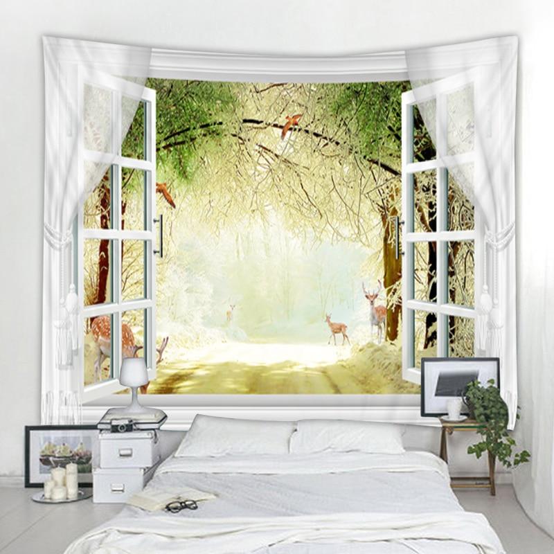 Nordic окна Архитектура Декорации для ландшафтного дизайна, гобелены украшение с изображением мандалы гобелен хиппи гобелен украшения Спальн...