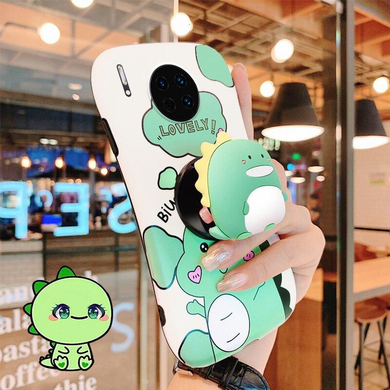 Милый мультяшный маленький динозавр стенд мобильный телефон чехол для Huawei P20 30 40 Pro Mate 20 30 Pro модный силиконовый чехол для задней панели телефона