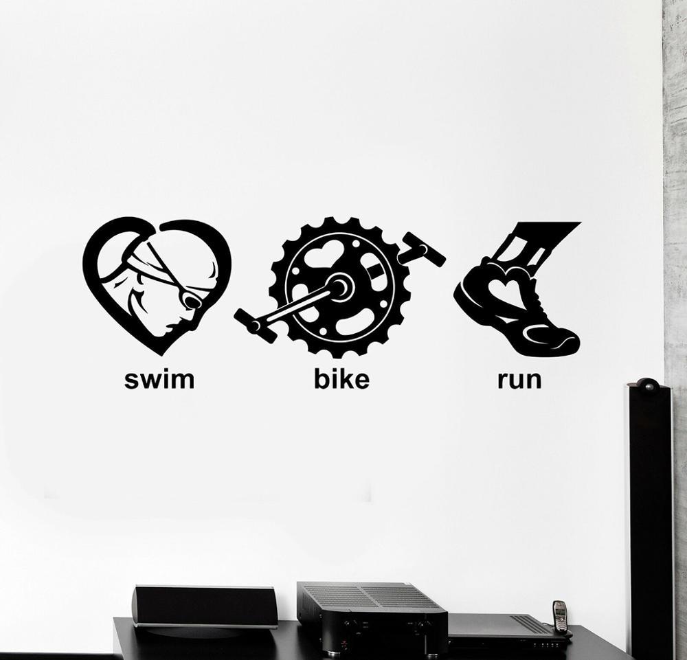 Deportes Olímpicos competición calcomanía de vinilo para pared triatlón natación bicicleta correr deportes arte decoración Mural dormitorio decoración gimnasio G918