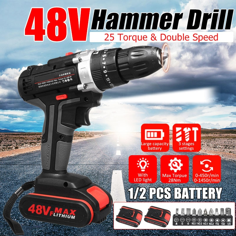 Newly 48V Electric Hammer Drill Cordless Drill Woodworking Tool Rechargeable Woodworking Drills  XSD88