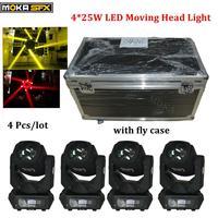 4 Pcs/lot 4 in 1 flight case+led beam moving head light 4*25W RGBW Super Beam DMX 512 9/15 DMX Channels Beam Light 90V-240V