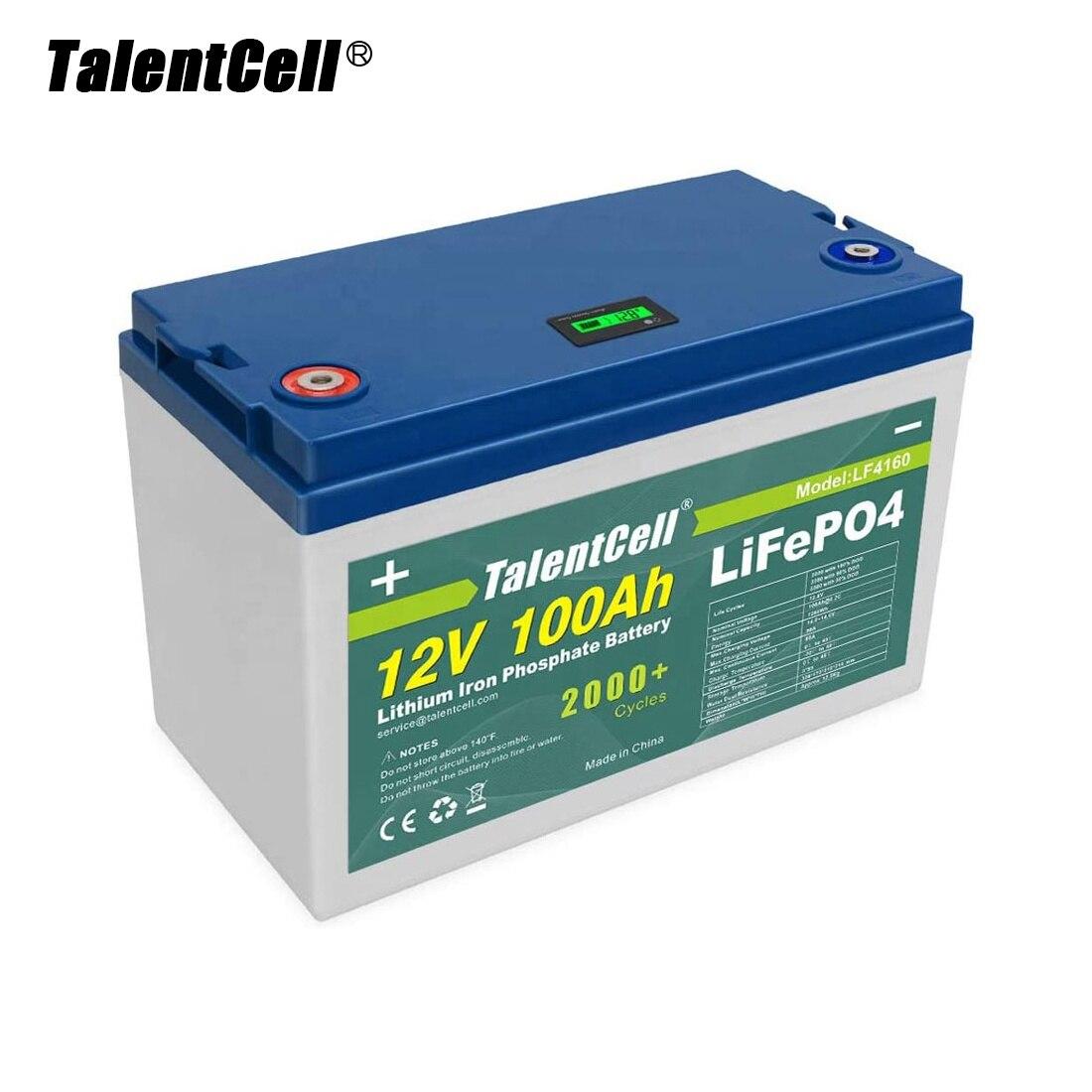 TalentCell شحن مجاني بطارية شمسية دائرة عميقة 32700 خلية 12.8 فولت 100/200/200/300 أمبير بطاريات ليثيوم الحديد الفوسفات LiFePO4