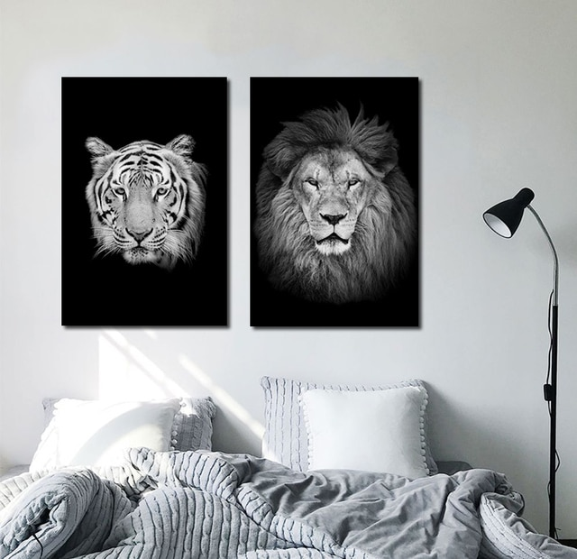 Black And White Animals tiger lion Wall Art Canvas Painting Poster and Prints Wall Picture for Living Room Decoration Home Decor 4