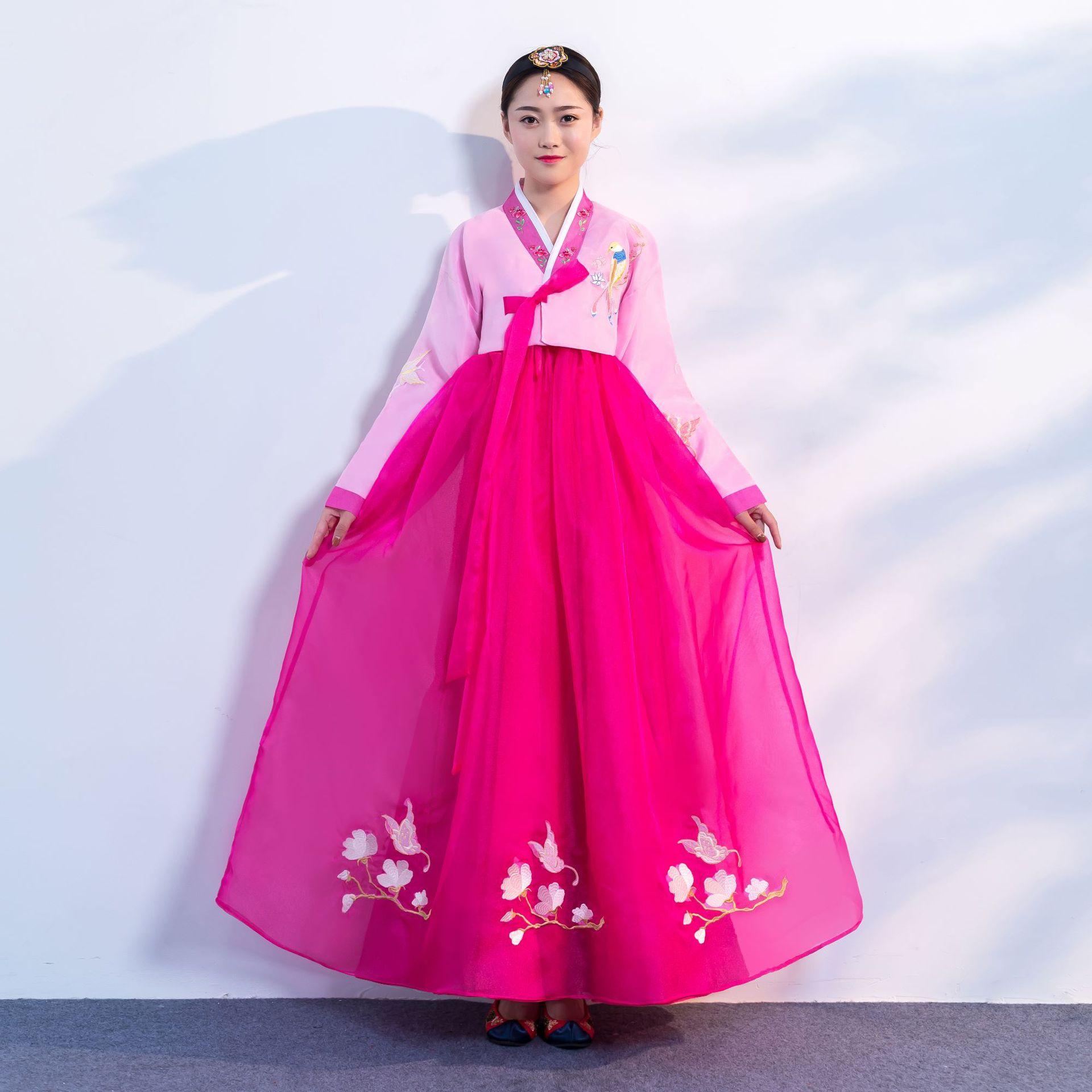 جديد الكورية التقليدية زي الهانبوك فستان الهانبوك الإناث كوريا قصر زي الأقليات الوطنية الرقص أداء فستان SL1352