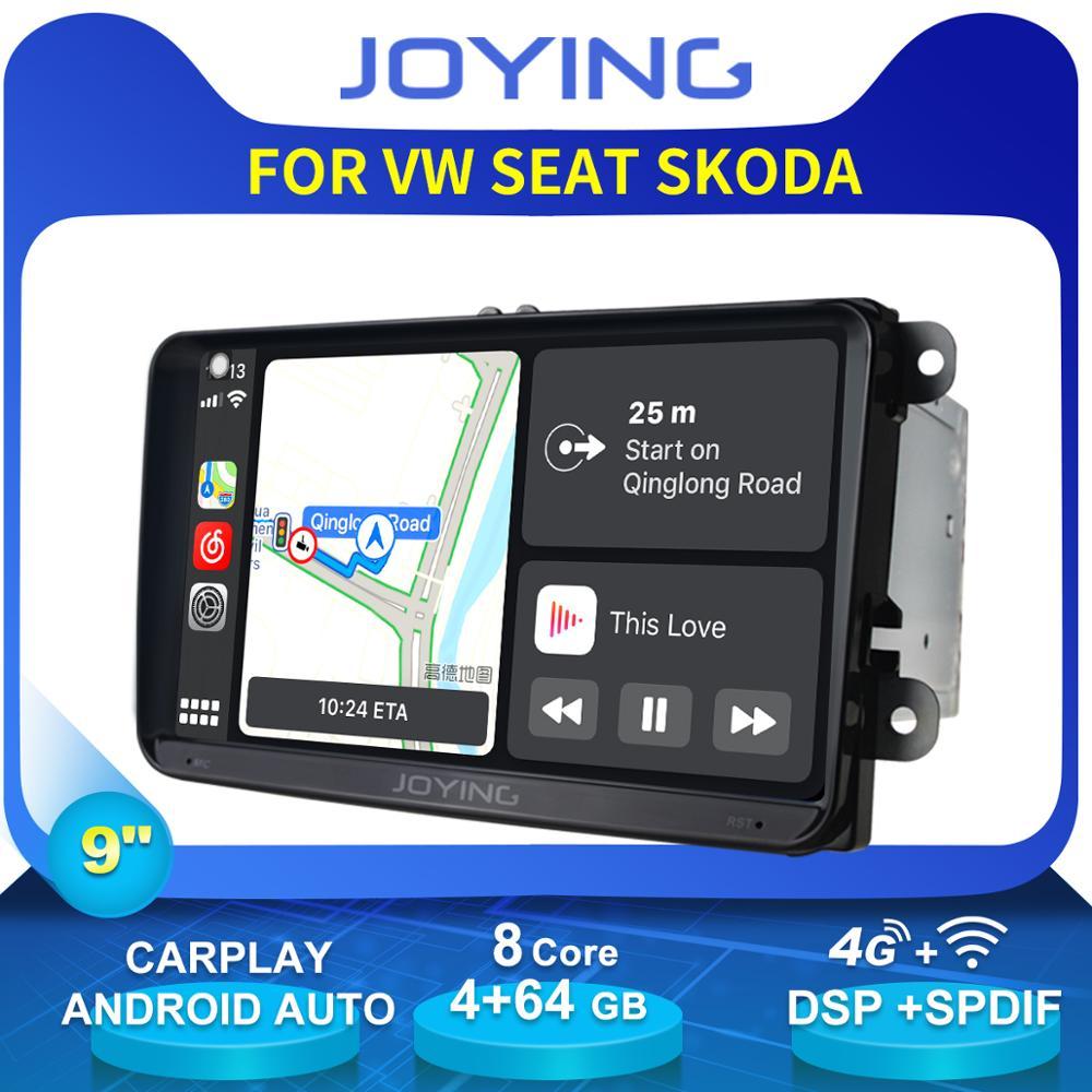 "Joying 9 ""unidade de cabeça 2 din android carro autoradio estéreo para vw skoda octavia 2 polo golf 4 7 passat b5 b7 b6 carplay dvd player"