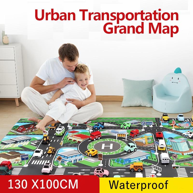 Dwaterproof água miúdo jogar esteira carro cidade cena tráfego estrada mapa educativo brinquedo para crianças criança escalada jogar esteira estrada m03