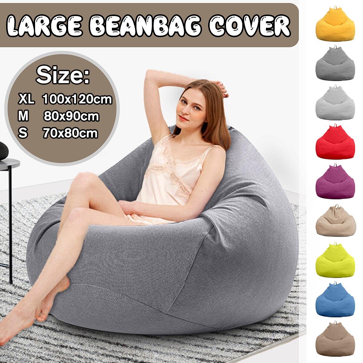 ¡Cubierta de sofás perezosos sin relleno de tela de lino tumbona asiento silla PUF Puff sofá Tatami puff para sala de estar cubierta solamente!