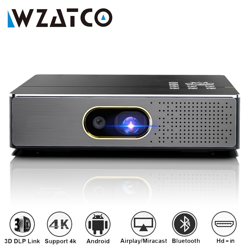 Promo WZATCO S5 Portable MINI DLP 3D Projector 4K 5G WIFI Smart Android9.0 for Home Theater Beamer Full HD 1080P Video lAsEr Proyector
