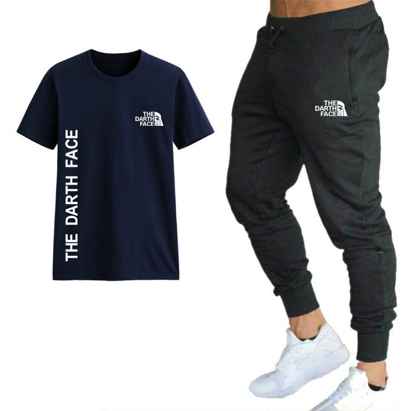 Men Round Neck T-shirt Two-piece Suit Printed Unisex Sports Short Sleeve Fashion Shirt Sweatpants Spring Autumn Casual Tops