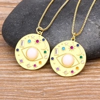 new arrival lucky turkish evil eye round pendant gold color long chain necklace for women girls fashion pearl inlay jewelry gift