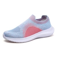 2021womens summer flat shoes knit casual slip on vulcanized shoes female mesh soft breathable mom sneaker zapatos de mujer