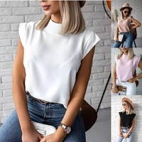 summer simple stand up collar lip printing ladies shirt top womens clothing
