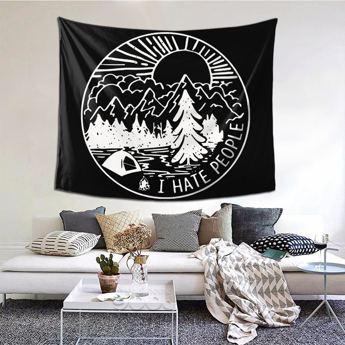 I Hate People Tapestry Hanging Tapiz Curtain Camping Campfire Camper Wall Cloth Polyester Beach Mat Unique