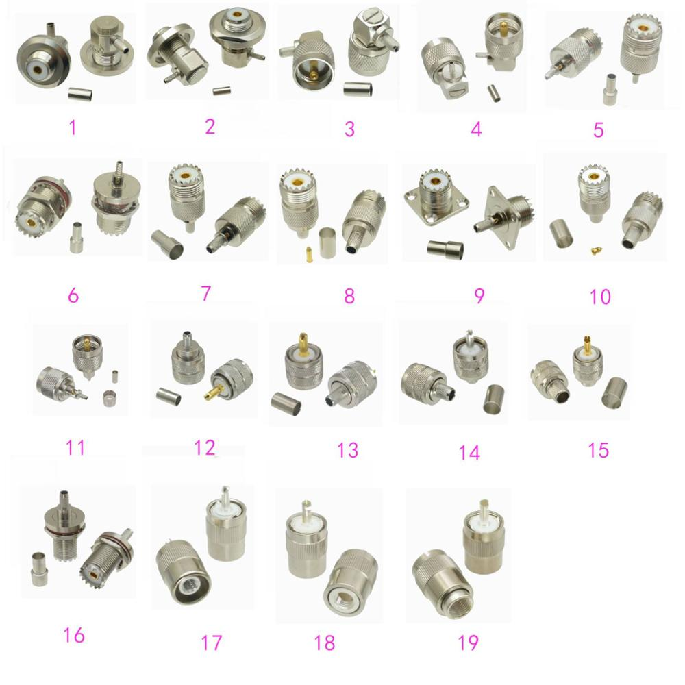 10 Uds conector UHF PL259 SO239 macho y hembra de crimpado/soldadura RG174 RG316 / RG58 RG142 LMR195 / RG8X LMR240 / RG5 RG6 / RG8 LMR400
