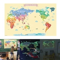 luminous world maps for wall removable adhesive wall stickers for kids nursery bedroom living room wall arts decor lb88